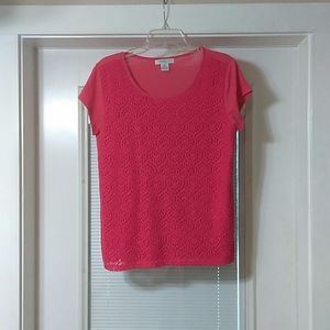 Liz Claiborne petite large coral color knitted